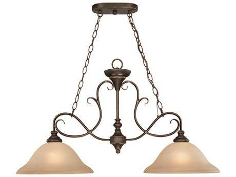 Craftmade Jeremiah Barrett Place Two-Light Island Light in Mocha Bronze with Light Umber Etched Glass CM24232MB