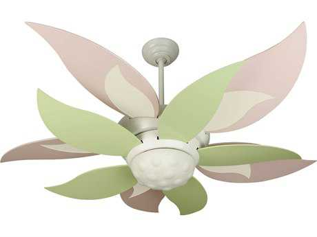 Craftmade Bloom White Two Light 52 Inch Wide Ceiling Fan With Translucent Teal Green And Cherry