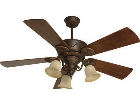 Craftmade Chaparral Aged Bronze Textured Three-Light 54 Inch Wide Ceiling Fan with Premier Blades in Hand-Scraped Walnut and Antique Scavo Light Kit CMK10408