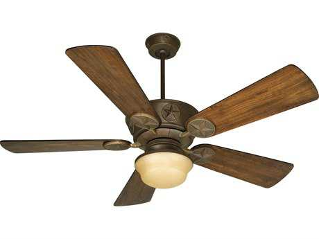 Craftmade Chaparral Aged Bronze Textured Two-Light 54 Inch Wide Ceiling Fan with Premier Blades in Distressed Oak and Amber Light Kit