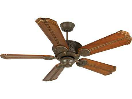 Craftmade Chaparral Aged Bronze Textured 56 Inch Wide Ceiling Fan with Custom Carved Blades in Chamberlain Oak with Aged Bronze Accents