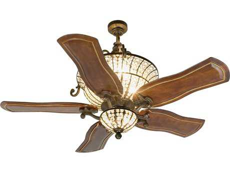 Craftmade Cortana Peruvian Bronze Six-Light 54 Inch Wide Ceiling Fan with Custom Carved Blades in Constantina Walnut and Light Kit CMK10663