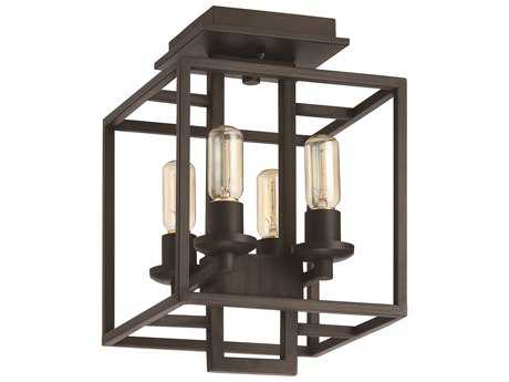 Craftmade Jeremiah Cubic Aged Bronze Brushed Four-Light 10.5'' Wide Semi-Flush Mount Ceiling Light CM41554ABZ
