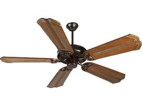 Craftmade CXL Oiled Bronze 56 Inch Wide Ceiling Fan with Custom Carved Blades in Chamberlain Oak with Aged Bronze Accents