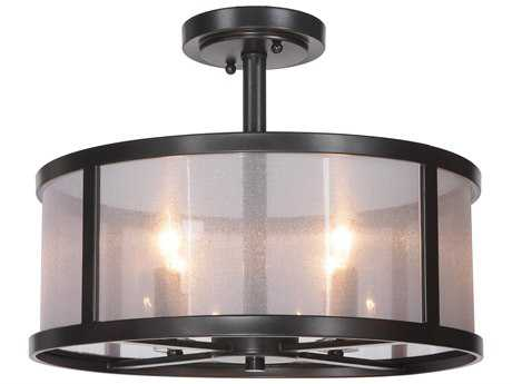 Craftmade Jeremiah Danbury Four-Light Semi-Flushmount Light in Matte Black with Organza Wrapped Fabric CM36754MBK