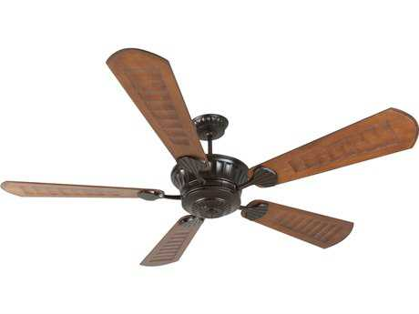 Craftmade DC Epic Oiled Bronze 70 Inch Wide Ceiling Fan with Custom Carved Blades in Scalloped Walnut