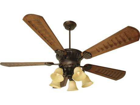 Craftmade DC Epic Oiled Bronze Five-Light 70 Inch Wide Ceiling Fan with Scalloped Walnut Blades and Antique Scavo Light Kit CMK10685