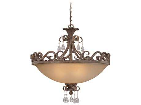Craftmade Jeremiah Englewood Four-Light Convertible Semi-Flushmount Light in French Roast with Crystal Accents CM25634FR