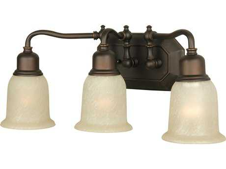 Craftmade Jeremiah Heritage Three-Light Vanity Light in Oil Rubbed Gilded with Tea-Stained Glass CM15819OBG3