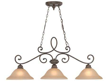 Craftmade Jeremiah Highland Place Three-Light Island Light in Mocha Bronze with Light Umber Etched Glass CM25233MB