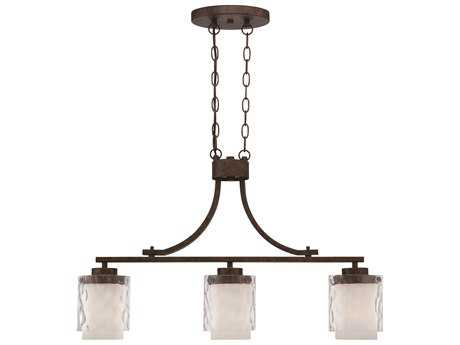 Craftmade Jeremiah Kenswick Three-Light Island Light in Peruvian Bronze with Clear Hammered (Outer)/Frosted Ribbed (Inner) Glass CM35473PR
