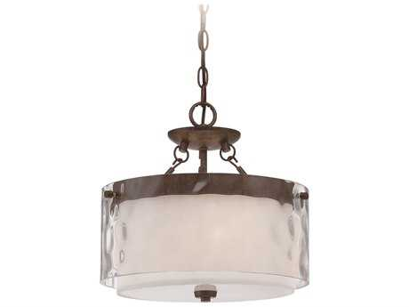 Craftmade Jeremiah Kenswick Three-Light Convertible Semi-Flushmount Light in Peruvian Bronze with Clear Hammered (Outer)/Frosted Ribbed (Inner) Glass CM35453PR