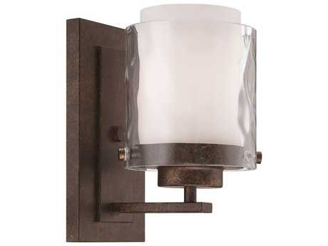 Craftmade Jeremiah Kenswick Wall Sconce in Peruvian Bronze with Clear Hammered (Outer)/Frosted Ribbed (Inner) Glass CM35401PR
