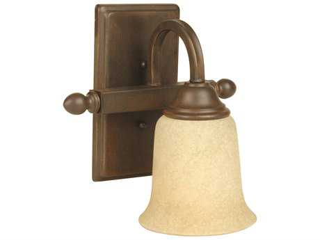 Craftmade Jeremiah Madison Wall Sconce in Aged Bronze Textured with Antique Scavo Glass