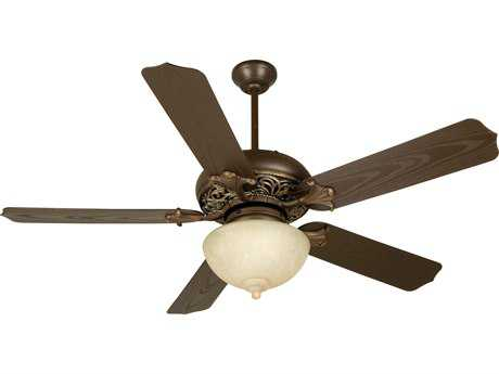 Craftmade Mia Aged Bronze/Vintage Madera Two-Light 52 Inch Wide Ceiling Fan with Outdoor Standard Blades in Brown and Light Kit CMK10335