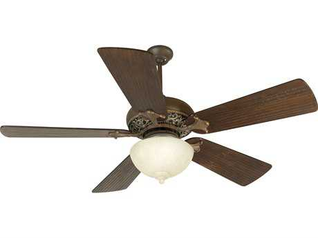 Craftmade Mia Aged Bronze/Vintage Madera Two-Light 54 Inch Wide Ceiling Fan with Premier Blades in Hand-Scraped Walnut and Light Kit CMK10526