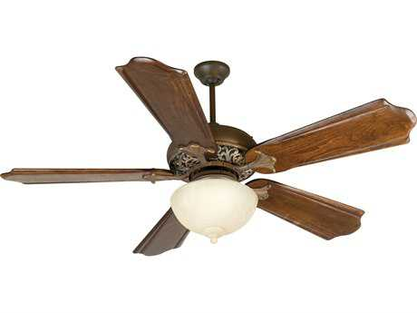 Craftmade Mia Aged Bronze/Vintage Madera Two-Light 56 Inch Wide Ceiling Fan with Custom Carved Blades in Classic Ebony and Light Kit CMK10730