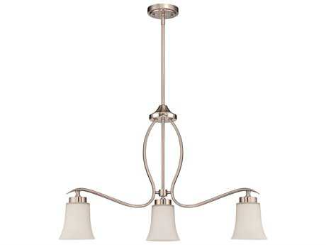 Craftmade Jeremiah Northlake Three-Light Island Light in Satin Nickel with White Frosted Glass CM38373SN