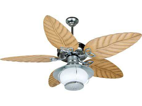 Craftmade Outdoor Patio Galvanized 54 Inch Wide Ceiling Fan with Outdoor Tropic Isle Blades in Light Oak CMK10527