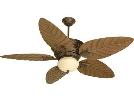 Craftmade Pavilion Aged Bronze Textured Two-Light 54 Inch Wide Ceiling Fan with Outdoor Tropic Isle Blades in Light Oak and Integrated Light Kit
