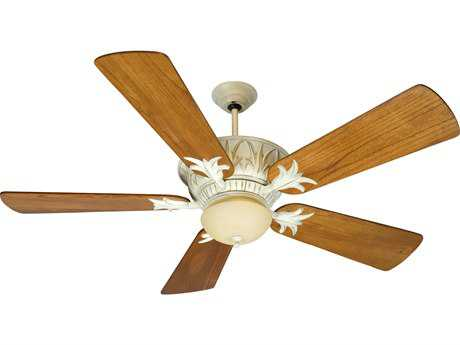 Craftmade Pavilion Antique White Distressed Two-Light 54 Inch Wide Ceiling Fan with Premier Blades in Distressed Teak and Integrated Light Kit
