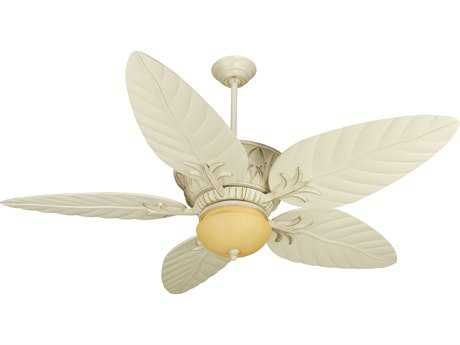 Craftmade Pavilion Antique White Distressed Two-Light 54 Inch Wide Ceiling Fan with Antique White Blades and Integrated Light Kit