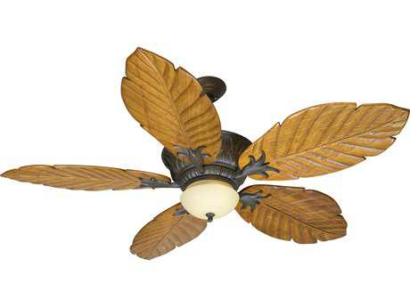 Craftmade Pavilion Aged Bronze Textured Two-Light 56 Inch Wide Ceiling Fan with Light Oak Blades Philodendron and Integrated Light Kit
