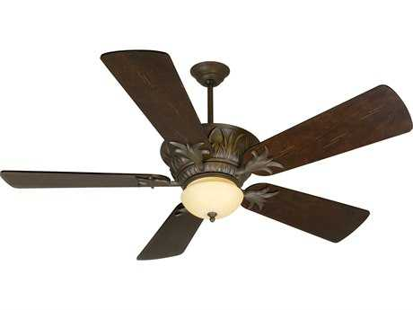 Craftmade Pavilion Aged Bronze Textured Two-Light 54 Inch Wide Ceiling Fan with Premier Blades in Distressed Walnut and Integrated Light Kit