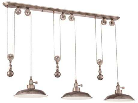 Craftmade Jeremiah Three-Light Pully Island Light in Tarnished Silver with Tarnished Silver Shade CMP403TS
