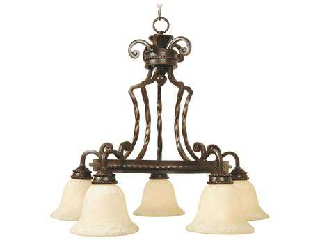 Craftmade Jeremiah Riata Five-Light Chandelier in Aged Bronze Textured with Antique Scavo Glass