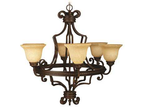 Craftmade Jeremiah Riata Six-Light Chandelier in Aged Bronze Textured with Antique Scavo Glass CM8134AG6