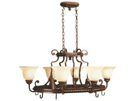 Craftmade Jeremiah Riata Eight-Light Pot Rack Chandelier in Aged Bronze Textured with Antique Scavo Glass CM8138AG8