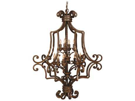 Craftmade Jeremiah Riata 12-Light Foyer Chandelier in Aged Bronze Textured with Antique Scavo (Optional - Sold Separately) Glass CM8139AG12
