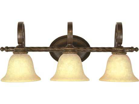 Craftmade Jeremiah Riata Three-Light Vanity Light in Aged Bronze Textured with Antique Scavo Glass CM8128AG3