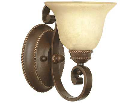Craftmade Jeremiah Riata Wall Sconce in Aged Bronze Textured with Antique Scavo Glass CM8107AG1