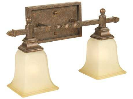 Craftmade Jeremiah Ryan Two-Light Vanity Light in Peruvian Bronze with Tea-Stained Glass