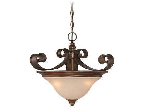 Craftmade Jeremiah Seville Three-Light Convertible Semi-Flushmount Light in Spanish Bronze with Creamy Frosted Glass CM28053SPZ
