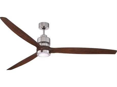 Craftmade Sonnet Chrome 60 Inch Wide Ceiling Fan with Blades in Walnut and Integrated White Frost Light Kit CMK11068