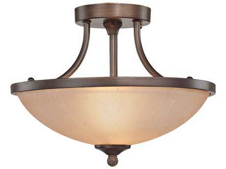 Craftmade Jeremiah Spencer Two-Light Semi-Flushmount Light in Bronze with Tea-Stained Glass CM26122BZ