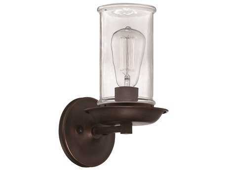 Craftmade Jeremiah Thornton Wall Sconce in Aged Bronze and Natural Rope with Antique Clear Glass CM36161ABZ