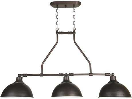 Craftmade Jeremiah Timarron Three-Light Island Light in Aged Bronze with Hammered Metal CM35973ABZ