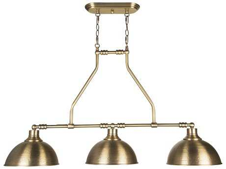 Craftmade Jeremiah Timarron Three-Light Island Light in Legacy Brass with Hammered Metal CM35973LB