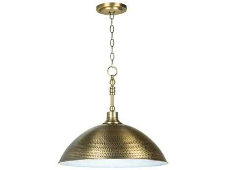 Craftmade Jeremiah Timarron Pendant Light in Legacy Brass with Hammered Metal CM35993LB