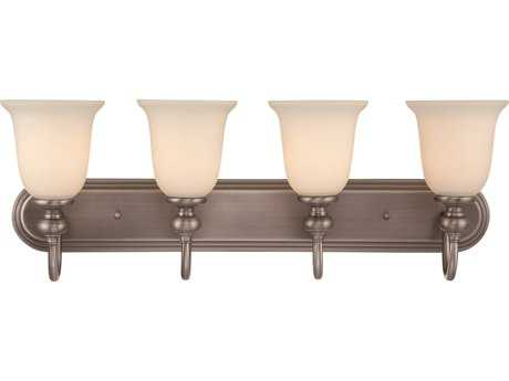 Craftmade Jeremiah Willow Park Four-Light Vanity Light in Antique Nickel with Creamy Frosted Glass CM28504AN