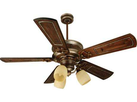 Craftmade Woodward Dark Coffee/Vintage Madera Three-Light 54 Inch Wide Ceiling Fan with Walnut/Vintage Madera Blades and Antique Scavo Light Kit