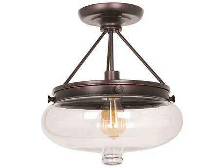 Craftmade Jeremiah Yorktown Semi-Flushmount Light in Oil Rubbed Gilded with Antique Clear Glass CM35051OBG