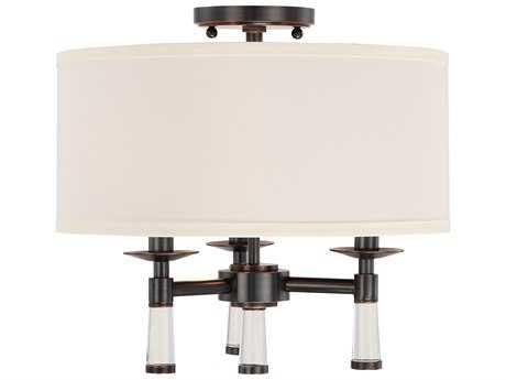 Crystorama Baxter Oil Rubbed Bronze Three-Light 16'' Wide Semi-Flush Mount Ceiling Light