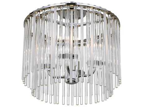 Crystorama Bleecker Chrome Four-Light 16'' Wide Flush Mount Ceiling Light with Glass Shade CRY394CHCEILING