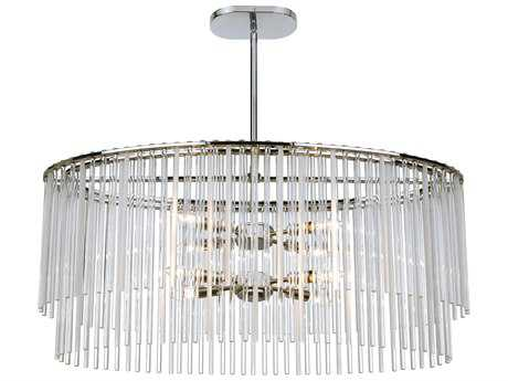 Crystorama Bleecker Chrome Eight-Light 16'' Wide Island Ceiling Light with Glass Shade CRY398CH