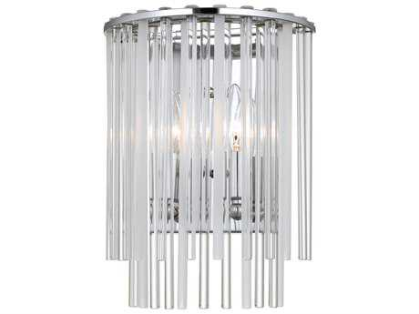 Crystorama Bleecker Polished Chrome Two-Light 9'' Wide Wall Sconce with Glass Shade